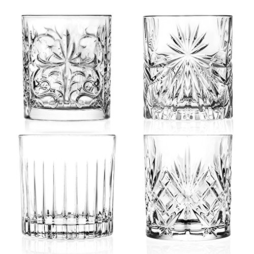 RCR Kristall Mixology Cut Glass Double Old Fashioned Whisky Tumblers - 340ml - Set von 4 Whisky-Glas