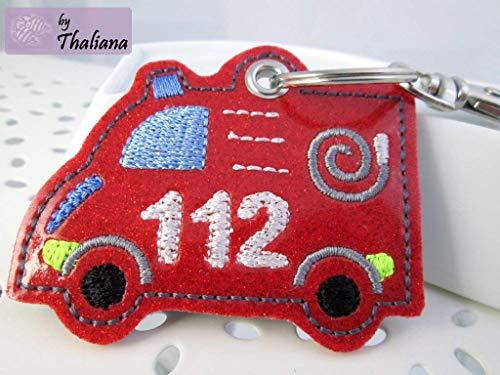 Taschen-Anhänger Feuerwehr rot Anhänger für Kindergartentasche Schulranzen Schlüsselanhänger