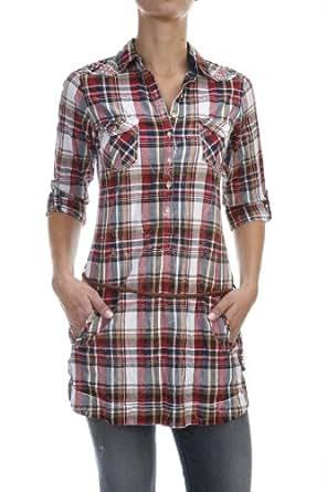 salsa langes kariertes hemd damen grau l bekleidung. Black Bedroom Furniture Sets. Home Design Ideas