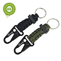 KIWISWEET 2Pcs Paracord Keychains with Carabiners /lanyard and Survival Flint Fire Starter,Black Green