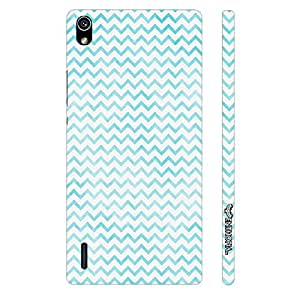 Huawei P7 CHEVRON BLUE N WHITE designer mobile hard shell case by Enthopia