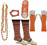 A-Express 1980 Neon Rayé Jambières Collier Gants Résille Déguisement Fête pour tutu costume ensemble (Orange)