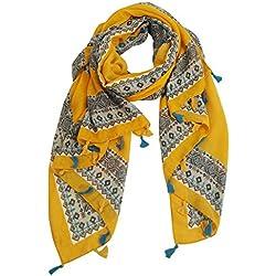 FEOYA - Fular para Mujer Verano Pañuelo Colorido en Moda Impresión Estilo de Étnica Bohemia con Borla Foulard Women Summer - Amarillo