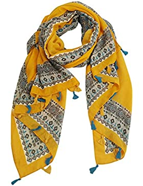 FEOYA - Fular para Mujer Verano Pañuelo Colorido en Moda Impresión Estilo de Étnica Bohemia con Borla Foulard...