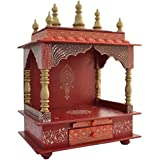 Jodhpur Handicrafts Wooden Temple with Light (Multicolour)