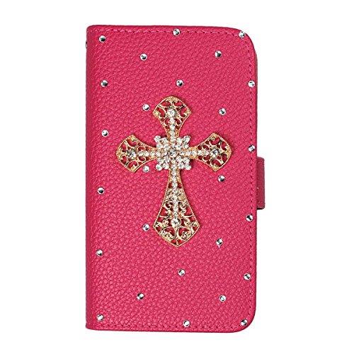 xhorizon® Auffälliger Glänzender Strass Kristall Pfau Krone DIY [Rosa-Rot] Leder Tasche Geldbeutel Stand Decke Case Hülle iPhone 5C mit einer Reinigungstuch Golden Kreuz