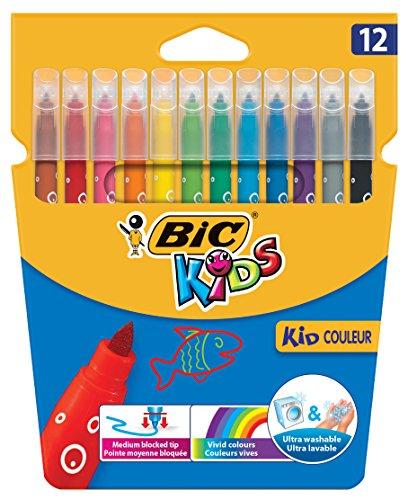 BIC Kids 920293 Fasermaler Kid Couleur Medium (12-farbig sortiert, Kartonetui) 12 Stück