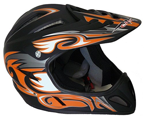 Protectwear FR-OR-M Downhillhelm Freeridehelm BMX Helm, Größe : M, Matt Schwarz/Orange