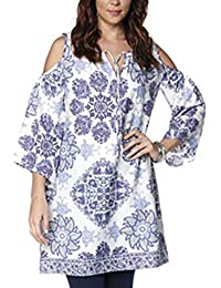 TopsandDresses Ladies Open Shoulder Long Tunic or Dress In Blue White Paisley Print Size 16