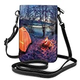 Women Small Cell Phone Purse Crossbody,Dark Night Camping Tent Photo In Winter On Snow Covered Lands By The Lake
