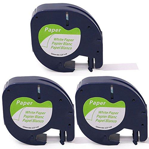 Oozmas Kompatibel für Dymo paper white 12mm x 4m Dymo LetraTag 91220 Schwarz auf Weiß, geeignet für Dymo LT-100H LT-100T XM 2000 Dymo LetraTag QX50 XR,3-pack