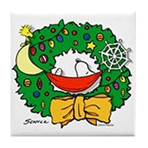 CafePress–Snoopy Weihnachten Kranz–Tile Untersetzer, Drink Untersetzer, Untersetzer, (Snoopy Charlie Brown Christmas)