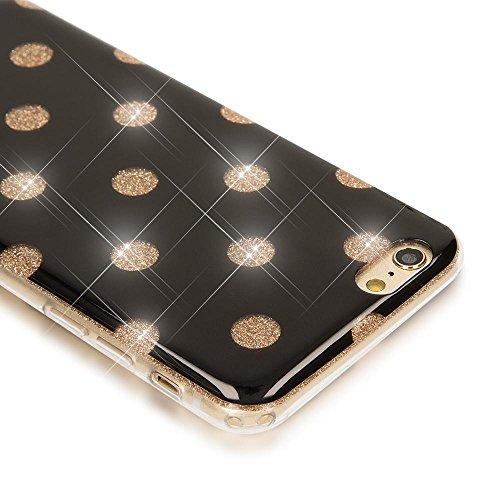iPhone 6 6S Punkte Hülle Handyhülle von NICA, Glitzer Ultra-Slim Silikon-Case Back-Cover Schutzhülle, Glitter Sparkle Handy-Tasche Bumper, Dünnes Bling Strass Etui für Apple iPhone-6S 6, Farbe:Schwarz Schwarz