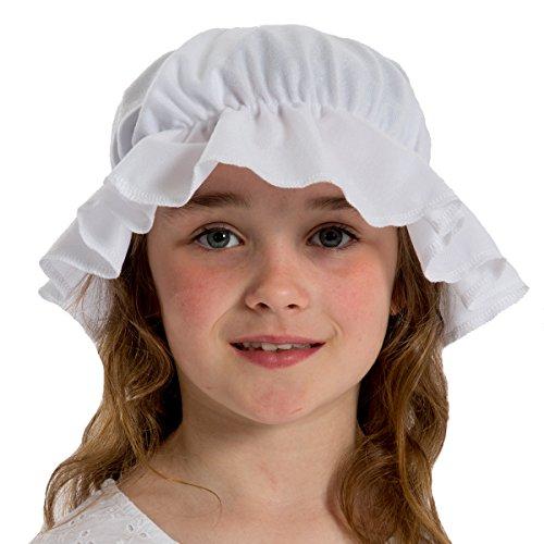 chen Mütze Weiß für Kinder 3+ jahre. (Bauernmädchen Kostüm Halloween)