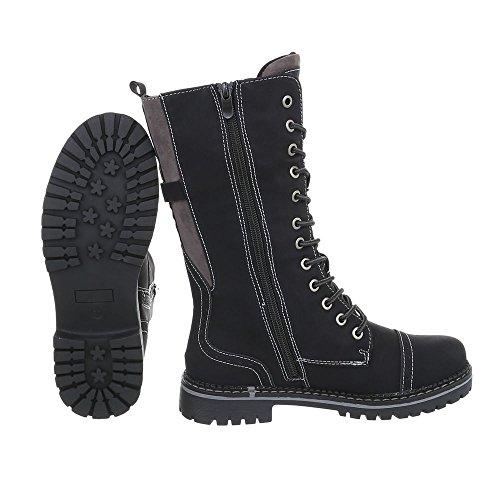 Ital Bloc Noir Bottines Et Bottes A Femme Design Lacets Chaussures CH01WHR
