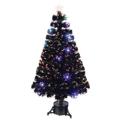 Festive Productions Festive 1.2 m Fibre Optic Tree with LED Lights, Black by Festive Productions