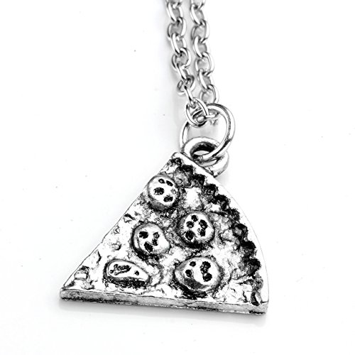 JOVIVI Anhänger, Silber Farbe Pizza Slice Freundschaftsketten Anhänger mit 50cm Kette, Halskette für Damen & Herren (Stück 1)