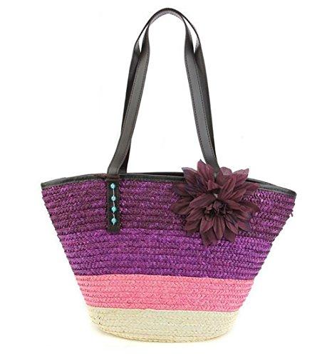 Borsa a tracolla di spaghetti da donna Borsa a maglia di spiaggia di Tote da spiaggia tessuto floreale femminile Borsa da spiaggia estate , rose red purple