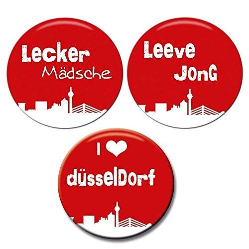Polarkind Button Anstecker 3 Set i love Düsseldorf Karneval lecker Mädsche Leeve Jong Wunschgröße handmade 38mm 59mm - 3 Artikel Kostüm