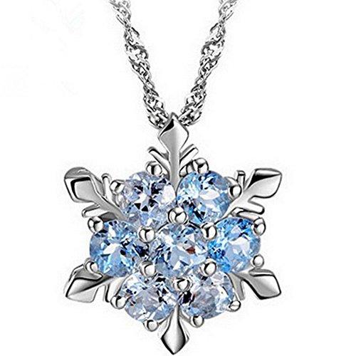 Hosaire Damen Halskette Kreative Sechseckig Schneeflocke Form Kristall Necklace Anhänger Frauen Clavicle Kette Schmuck Zubehör