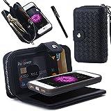 Smartphone-Hülle von Urvoix für iPhone SE, aus Leder, mit Reißverschluss und entfernbarer, magnetischer Rückseite, inklusive Handschlaufe und Fächern für Kreditkarten