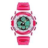 Kinder Sportuhr Wasserdicht Lumineszierend Armbanduhr für Mädchen mit Wecker Elektronik Quarz Bewegung Digitaluhr für Jungen Dual Zeit Anzeigen Kinderuhren,Rosa