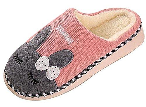 Minetom Mujer Hombres Otoño Invierno Zapatillas De Estar Por Casa Suave Slippers Dibujos Animados Conejo Pareja Zapatos Rosa EU 36