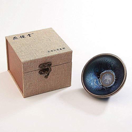 JianZhan Tenmoku tasse de thé bol vert Matcha - Lotus modèle lanterne chapeau en métal argile artisanat chinois Collection Designer Cérémonie style ancien travail à la main artisanal 55 ml bleu