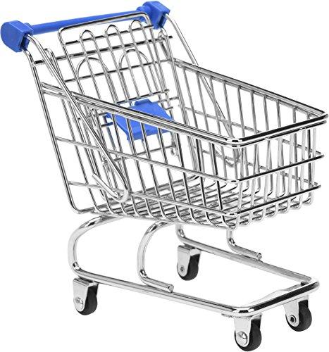 Mini Deko Supermarkt Einkaufswagen aus Metall, Gitterwagen Kinder Spielzeug, Geschenkidee, Wichtelgeschenk, 13cm x 13,5cm x 9,5cm,Farbe: blau