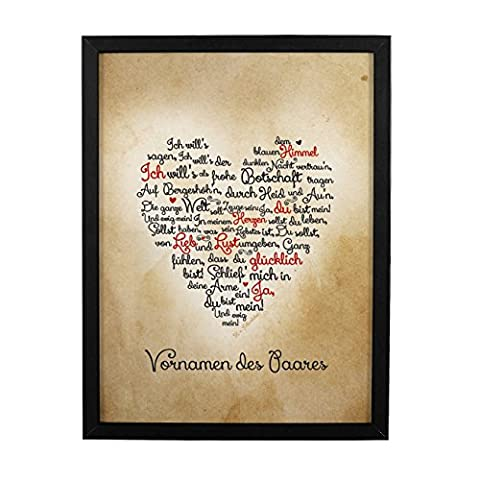 geschenke-online gerahmtes Wandbild Liebesgedicht von Fallersleben zum Valentinstag oder Hochzeit mit Namen des
