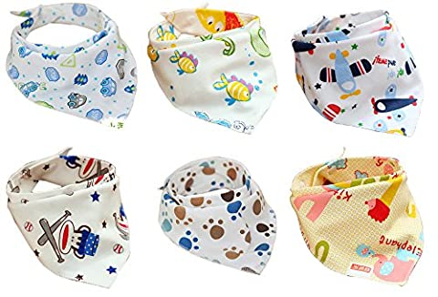 Jiexi® 6pcs 100% Cotton 32*43cm Unique Baby and Toddler Bandana Bib Set Kit with Adjustable Straps Dribble Bibs For Boys&Girls