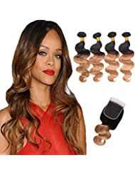 """Ombre Brazilian Virgin Hair Body Wave 4 Bundles With Lace Closure 2 Tone Ombre Hair Weave Weft Black to Brown (12 14 16 18+12"""", 1b/27)"""
