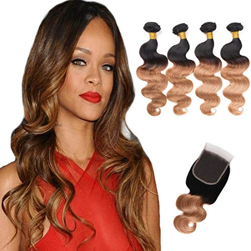 Ombre Brazilian Virgin Hair Body Wave 4 Bundles With Lace Closure 2 Tone Ombre Hair Weave Weft Black to Brown (12 14 16 18+12