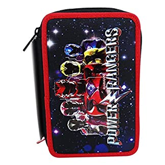 Seven Power Rangers Energy Estuche Escolar Làpices de colores Plumier Triple para Ninos