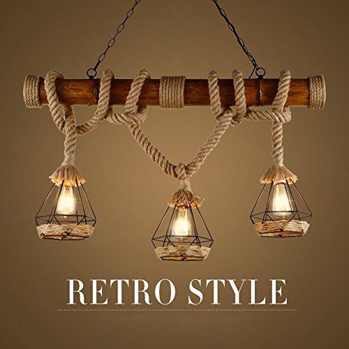 BJVB Rustico birdcage canapa corda a sospensione Lampade legno Downlight soffitto Lampade & Shades