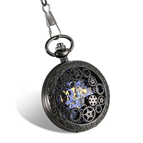 Mit Kalender Taschenuhren (JewelryWe Retro Zahnrad Ritzel Hohe Openwork Handaufzug Mechanische Taschenuhr Skelett Uhr Pullover Halskette Kette Schwarz)