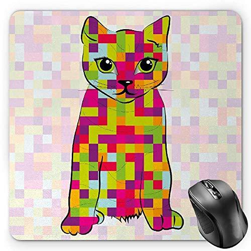 HYYCLS Modern Mauspads, Cute Kitty Featured Digital Fractal Pixel Cat Computer Illustration, Standard Size Rectangle Non-Slip Rubber Mousepad, Multicolor -