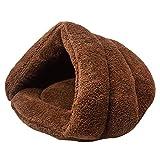 Leosi Chat Chiot douillet Sac de couchage épais complète pour animal domestique Grotte Demi recouvert Pantoufle Forme coupe-vent pour animal domestique Motif Lits 3d Tente Snuggle Sack