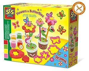 SES Creative Plastilina - Flores y Mariposas perfumadas - Kits de Manualidades para niños (Glitter Modelling Clay Set, Arcilla de modelar, Niño/niña, 2 año(s), Niños, Verde, Rosa, Rojo, Amarillo)