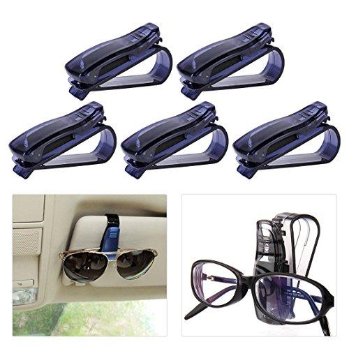 beler 5tlg Plastik Auto Sonnenbrille Halterung Brillen Halter Clip Sonnenblende Halterclip Halterungen Kartenhalter