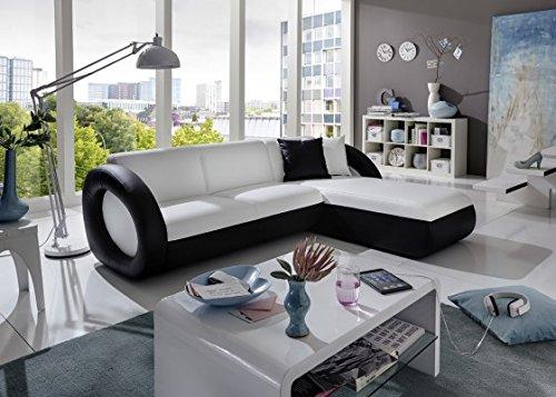 SAM Sofa Garnitur weiß - schwarz ONDA-L couch 236 x 180 cm Ottomane rechts exklusiv Ricardo Paolo komfortabel pflegeleicht modisch