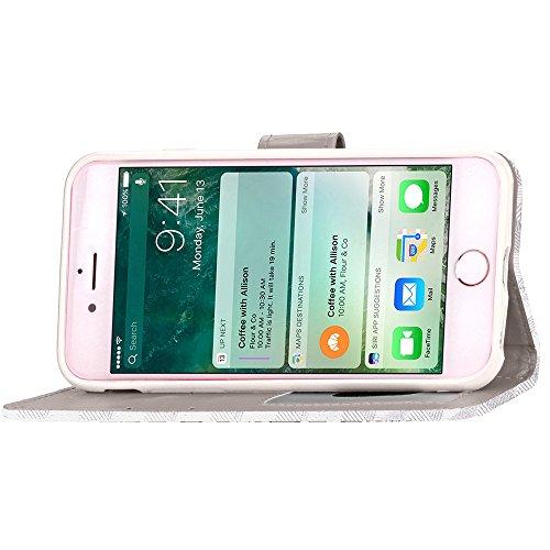 EKINHUI Case Cover IPhone 7 Fall-Abdeckung, quadratisches Gitter-Muster-Schlag-Standplatz-Fall-TPU Abdeckung mit Abzuglinie u. Mappe u. Foto-Feld für Apple IPhone 7 ( Color : Blue , Size : IPhone 7 ) Silver