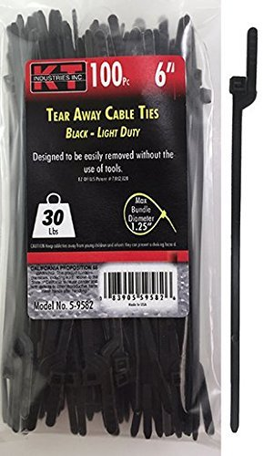 Price comparison product image K-T Industries 5-9582 6-Inch Tear Away Cable Ties, Light Duty, Black, 100-Pack