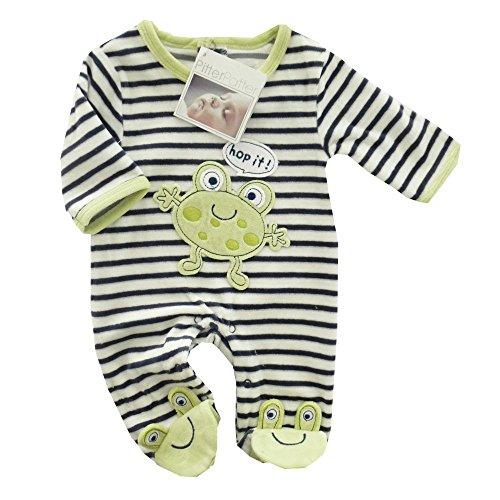 PitterPatter Baby Schlafanzug schwarz-weiß gestreift | Motiv: Frosch | Babystrampler mit Streifenmuster für Neugeborene & Kleinkinder | Größe: 0-3 Monate (56/62) (Baumwoll-schlafanzug Frosch)