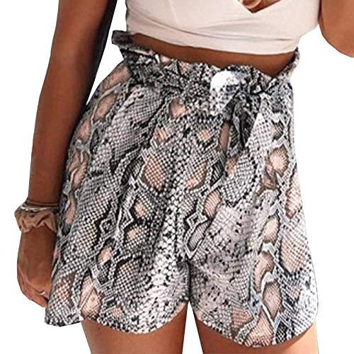 Schlangenleder Print Krawatte Taille Paperbag Lässige Strand Shorts mit Taschen, Beige, XL(EU42) ()