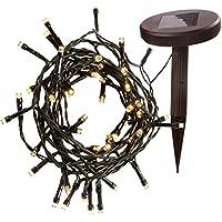 WeRChristmas Solar Power Warm White LED Light String, 5 m - 50-LED, White