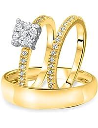 Silvernshine 2/3 Ct Cluster Diamond Trio Wedding Matching Ring Set Yellow Gold Fn .925 Silver