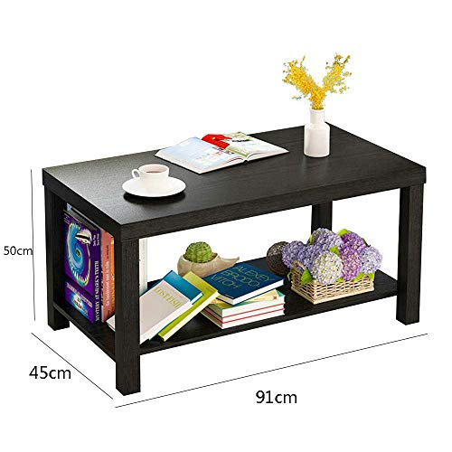 YueQiSong Modern Minimalist Living Room Sofa Side Table Small Coffee Table Living Room Dining Room Small Table, Black, 91 * 50 * 45cm