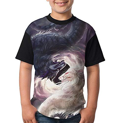 JEWold Custom Children's Teenagers Round Neck T-Shirts White and Black Dragon Black Short Sleeve T Shirts Youth Tees Kindert-Shirt (Dragon Youth Tshirt)
