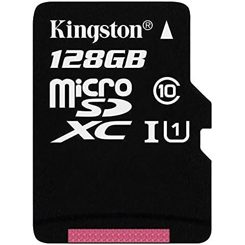 Kingston SDCX10/128GB - Tarjeta microSD de 128 GB (clase 10, UHS-I, adaptador SD), negro